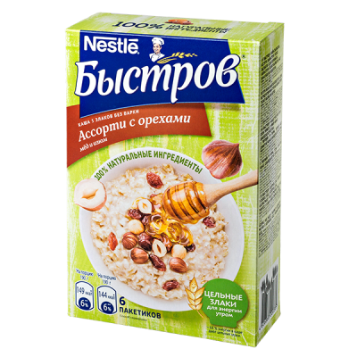 Каша Быстров Ассорти 5 злаков с орехами мед и изюм 6 пакетиков по 40 г