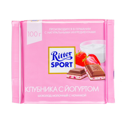 шоколад Риттер Спорт Клубника с Йогуртом 100 г 1 уп.х 12 шт.