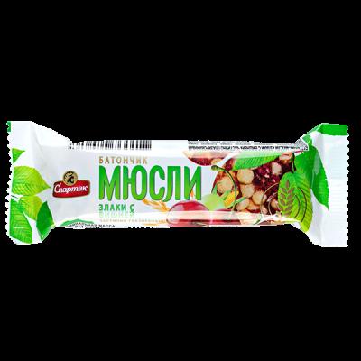 батончик МЮСЛИ Спартак злаки с вишней 35 г 1 уп*24 шт