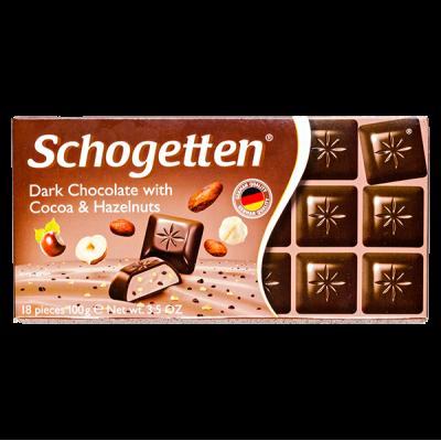 шоколад SCHOGETTEN Dark Chocolate with Cocao&Hazelnuts 100 г 1уп. х 15шт.