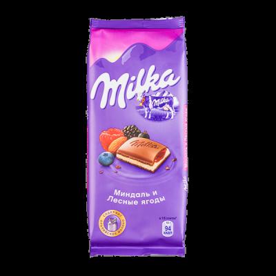 шоколад Милка Миндаль и Лесные Ягоды 90 г 1уп.х 20шт.