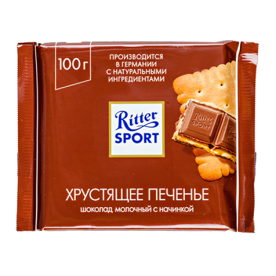 шоколад Риттер Спорт Хрустящее Печенье 100 г 1 уп.х 11 шт.