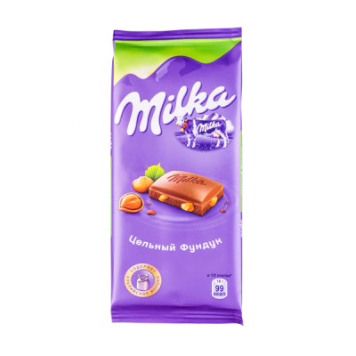 шоколад Милка Цельный Фундук 90 г 1уп.х 19шт.