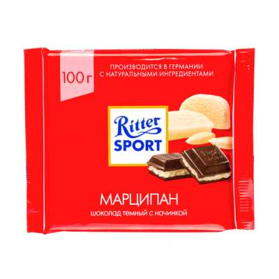 шоколад Риттер Спорт Марципан 100 г 1 уп.х 12 шт.