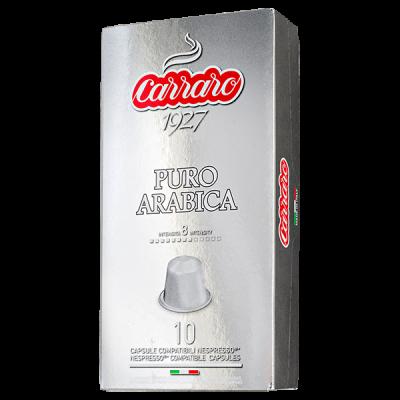 кофе капсулы  CARRARO PURO ARABICA 1 уп х  10 капсул