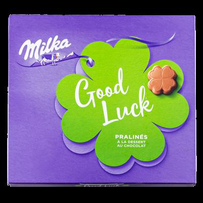 конфеты Милка GOOD LUCK молочно-шоколадный крем Пралине 110 г 1 уп.х 10 шт.