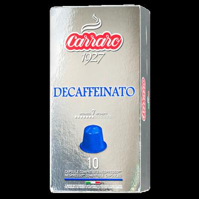 кофе капсулы  CARRARO DECAFFEINATO 1 уп х  10 капсул