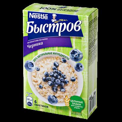 Каша Быстров Овсяная с Черникой 6 пакетиков по 40 г