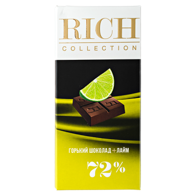 шоколад RICH COLLECTION 72% Горький+Лайм 70 г 1уп.х 10шт.