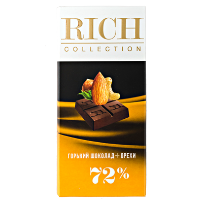 шоколад RICH COLLECTION 72% Горький+Орехи 70 г 1уп.х 10шт.