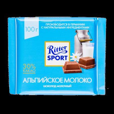 шоколад Риттер Спорт Альпийское Молоко 100 г 1 уп.х 12 шт.