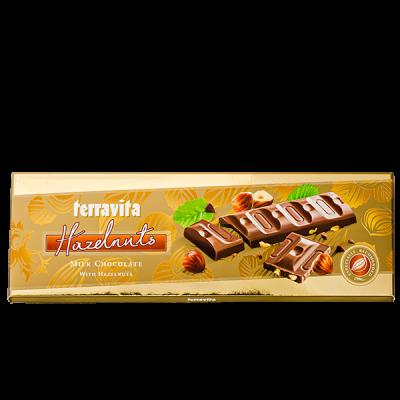 шоколад TERRAVITA молочный с лесным орехом 225 г 1уп.х 9 шт.