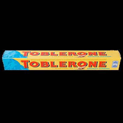 шоколад Тоблерон CRUNCHY ALMONDS Молочный с медово-миндальной нугой 100 г 1 уп.х 20 шт.