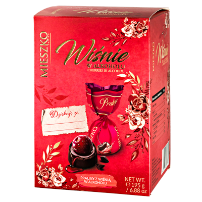 конфеты MIESZKO PRALINE WITH CHERRY IN ALCOHOL 195 г 1 уп.х 15 шт.