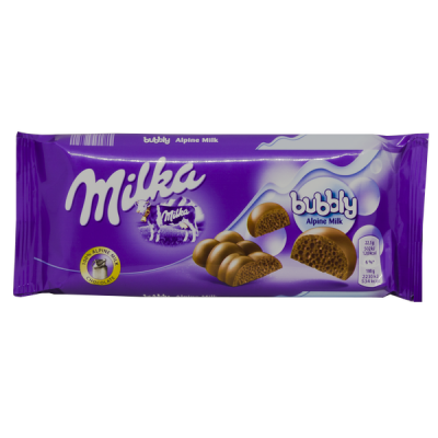 шоколад Милка bubbly Alpine Milk 90 г 1 уп.х 14 шт.
