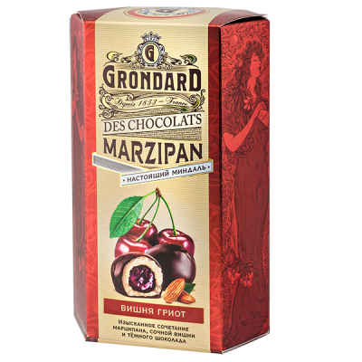 конфеты GRONDARD МАРЦИПАН ВИШНЯ ГРИОТ 140 г 1 уп. х 10 шт.