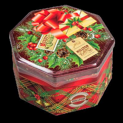 чай HILLTOP в подарочном восьмиграннике 'С рождеством' ж/б 150 г 1 уп.х 12 шт.