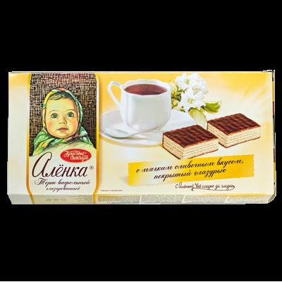 Торт Аленка вафельный глазированный 250 г 1 уп.х 15 шт.