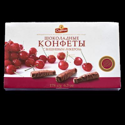 конфеты Шоколадные Бутылочки с Вишневым Ликером 178 г 1 уп.х 6 шт. Спартак