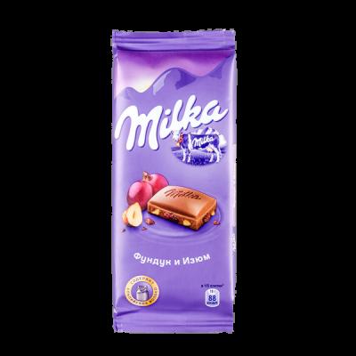 шоколад Милка Фундук Изюм 90 г 1уп.х 20шт.