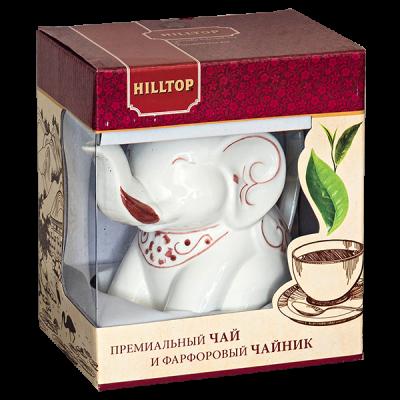 чай HILLTOP в фарфоровом чайнике Слон 'Подарок цейлона' 80 гр. 1уп. х 6 шт.
