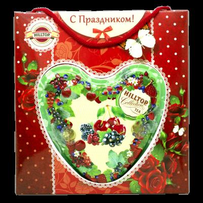 чай HILLTOP в подарочном футляре в форме сердца 'Ягодное настроение' ж/б 80 гр.