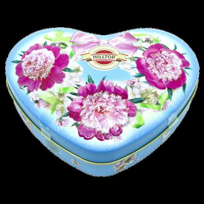 чай HILLTOP в подарочном футляре в форме сердца 'Розовые пионы' ж/б 100 гр.