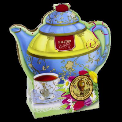 чай HILLTOP в картонном футляре в форме чайника 'Подарок Цейлона' 80 гр. 1уп. х 14 шт.