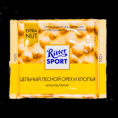 шоколад Риттер Спорт Цельный Лесной Орех и Хлопья Белый 100 г 1уп.х 10шт.