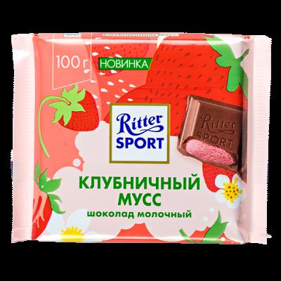 шоколад Риттер Спорт Клубничный мусс 100 г 1 уп.х 11 шт.