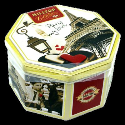 чай HILLTOP в подарочном восьмиграннике 'Парижские каникулы' ж/б 150 г 1 уп.х 12 шт.
