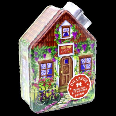 чай HILLTOP весенний домик с рецептом 'Черный лист' ж/б 100 г 1 уп.х 14 шт.