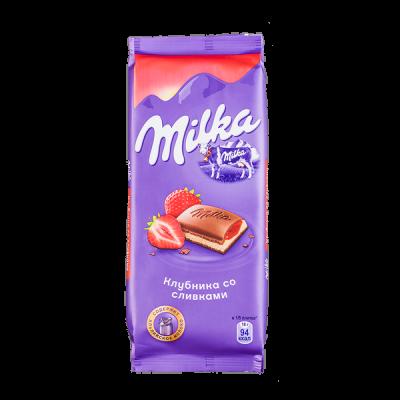 шоколад Милка Клубника со Сливками 90 г 1уп.х 20шт.