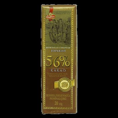 шоколад Спартак горький 56 % 20 г 1 уп*72 шт
