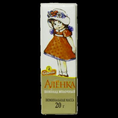 шоколад Спартак молочный Аленка 20 г 1 уп*76 шт