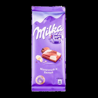 шоколад Милка Молочный и Белый 90 г 1уп.х 20шт.