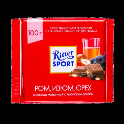 шоколад Риттер Спорт Ром, Изюм, Орех 100 г 1 уп.х 12 шт.