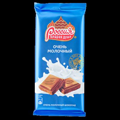 шоколад Россия  Очень Молочный 90 г 1 уп.х 22 шт.
