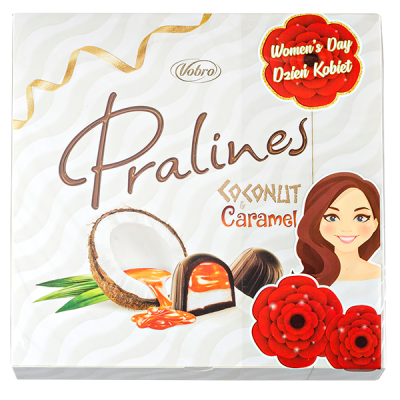 конфеты VOBRO PRALINES COCONUT&CARAMEL (8 Марта) 125 г 1 уп.х 12 шт.