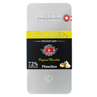 шоколад BUCHERON ж/б 72% Горький с Фисташками 100 г 1уп.х 10 шт.