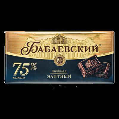 шоколад Бабаевский Элитный 75% 200 г 1 уп.х 16 шт.