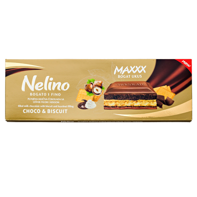 шоколад Nelino Choco & Biscuit Hazelnut 225 г 1уп.х 12 шт