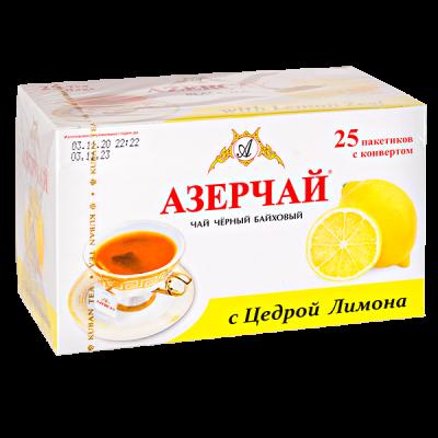 чай АЗЕРЧАЙ с цедрой лимона 25 пакетиков с конвертом 1 уп.х 24 шт.