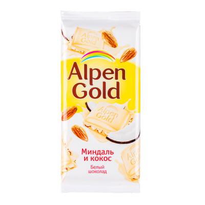 шоколад Альпен Гольд Миндаль и Кокос 90 г 1 уп.х 20 шт.