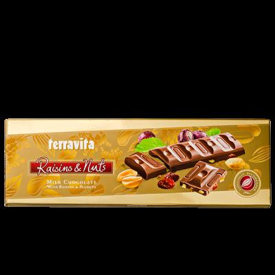 шоколад TERRAVITA молочный с изюмом и арахисом 225 г 1уп.х 9 шт.