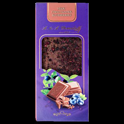 шоколад A&A Demidoff Молочный с черникой 90 г 1 уп.х 10 шт.