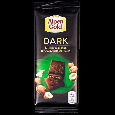 шоколад Альпен Гольд Дарк дробленый фундук 80 г 1 уп.х 22 шт.
