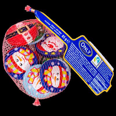 шоколад НГ ONLY Cristmas coins в сетке 85 г 1 уп.х 24 шт.