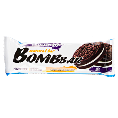 Батончик Bombbar протеиновый COOKIES & CREAM 60 г 1 уп.х 20 шт.