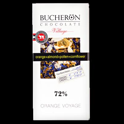 шоколад BUCHERON VILLAGE 72% Апельсин Миндаль Лепестки Василька 100 г 1уп.х 10шт